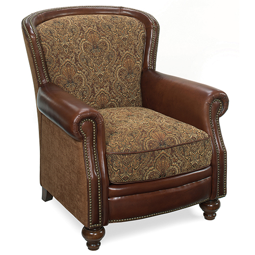 hooker furniture priscilla brown leather and fabric club chair cc753