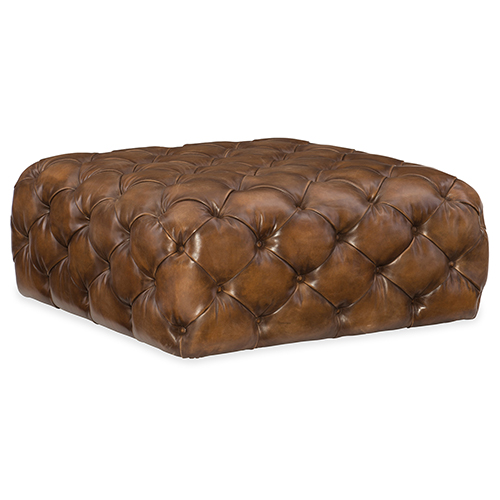 Ethan Brown Leather Square Ottoman