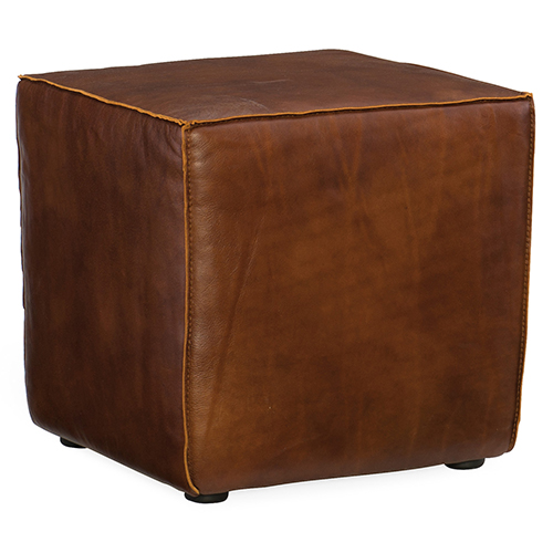 Quebert Brown Leather Cube Ottoman