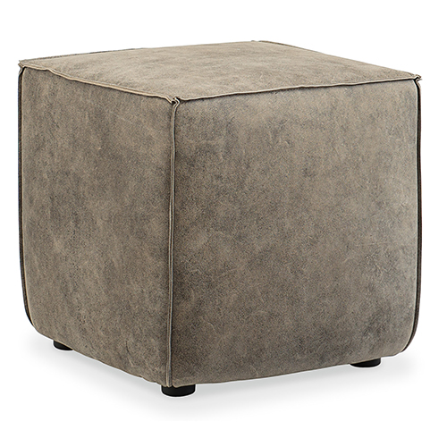 Quebert Gray Leather Cube Ottoman