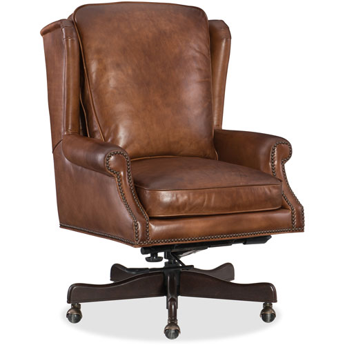 Finnian Brown Leather Home Office Chair