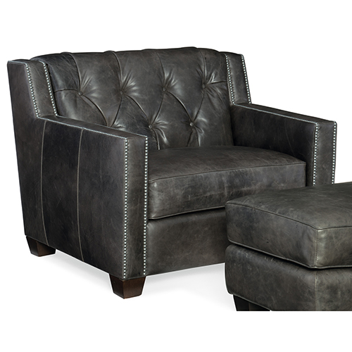 Trellis Gray Leather Stationary Chair