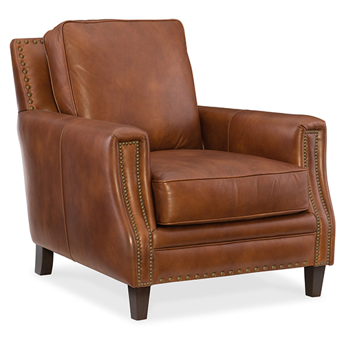Hooker Furniture Exton Brown Leather Stationary Chair