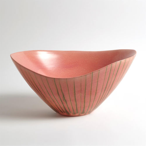 Studio A Home Brown and Pink Striped Melon Bowl