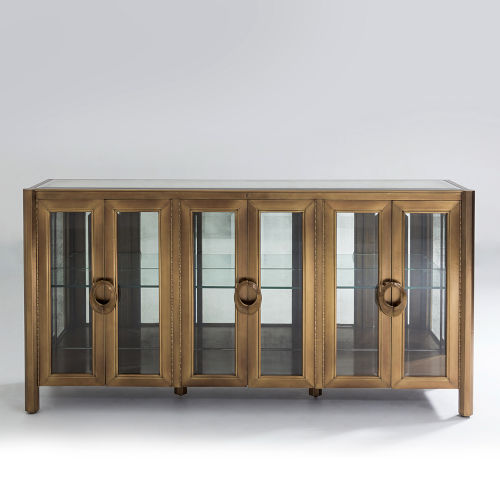 Apothecary Dark Brass Console Cabinet