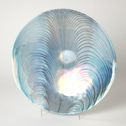 Ivory and Turquoise 19-Inch Feather Swirl Centerpiece Bowl
