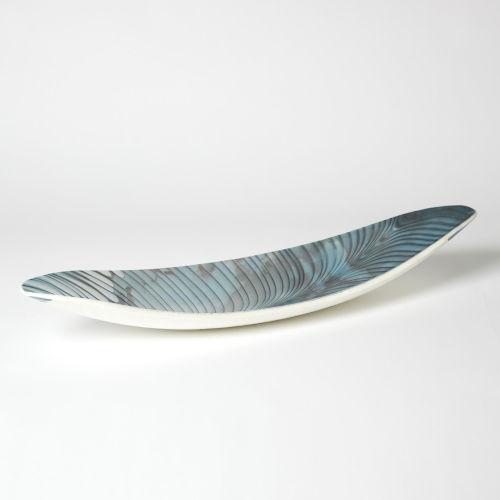 Ivory and Turquoise Six-Inch Feather Swirl Gondola Bowl