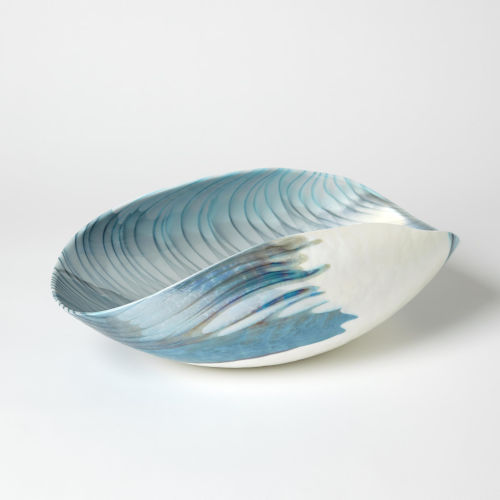 Ivory and Turquoise 10-Inch Feather Swirl Oval Bowl