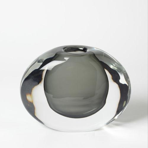 Offset Grey Six-Inch Round Vase