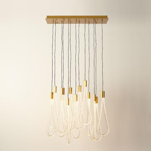 Raindrop Satin Brass 13-Light LED Pendant with Clear Bubble Acrylic Glass