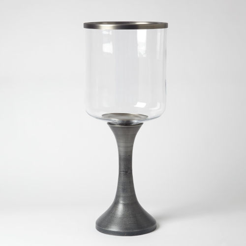 Graphite and Pewter 11-Inch Candle Holder