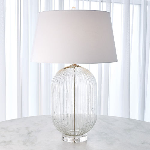 Clear Glass Ribbed Barrel Table Lamp