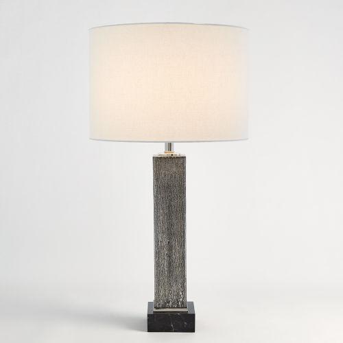 Nickel Square Column Mercury Glass Table Lamp