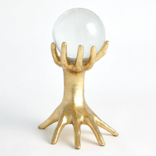 Gold Leaf 8-Inch Hands on Sphere Holder Decorative Object