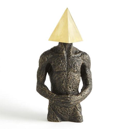 Brass and Bronze Pyramid Hero Figurine