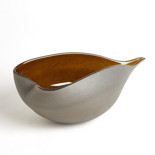 Frosted Gray and Amber 10-Inch Decorative Bowl
