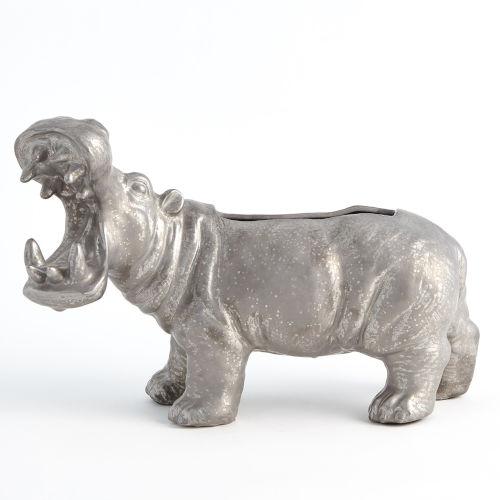 Silver Hippo Planter