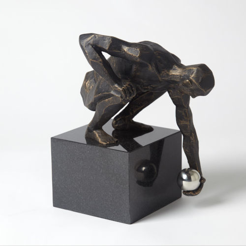 Bronze 10-Inch Squat Point Man Figurine