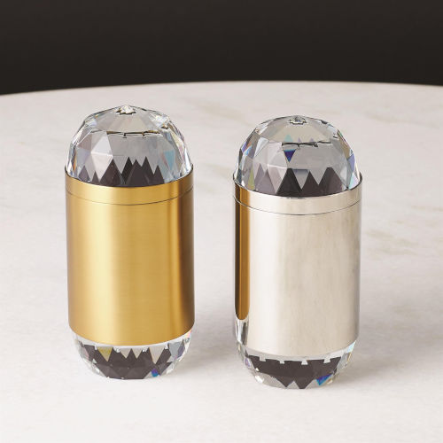 Studio A Home Nickel and Clear Banded Crystal Candle