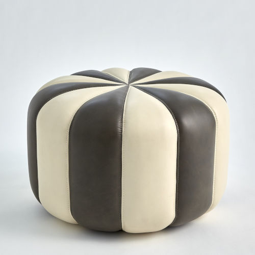 Peppermint Dark Gray and Ivory Pouf