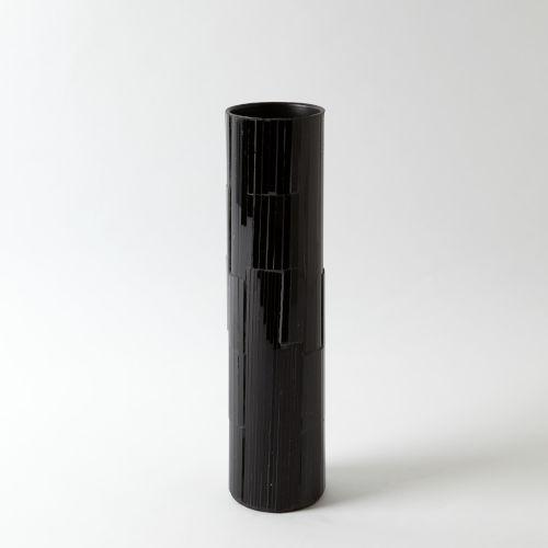 Mosaic Black Powder Coat and Black Mosaic Four-Inch Medium Vase