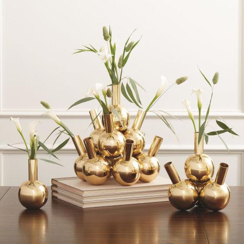 Brass Ten Bottle Vase