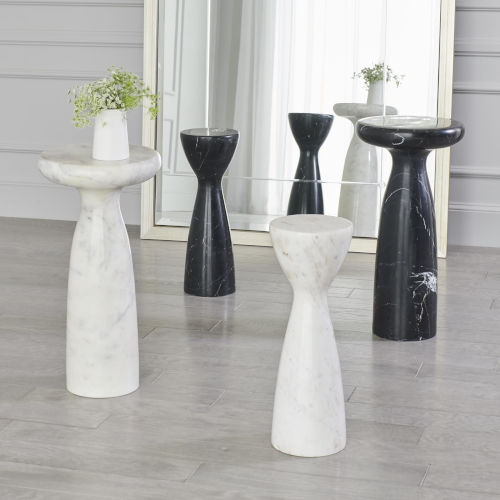Banswara White Marble 8-Inch Tower Table