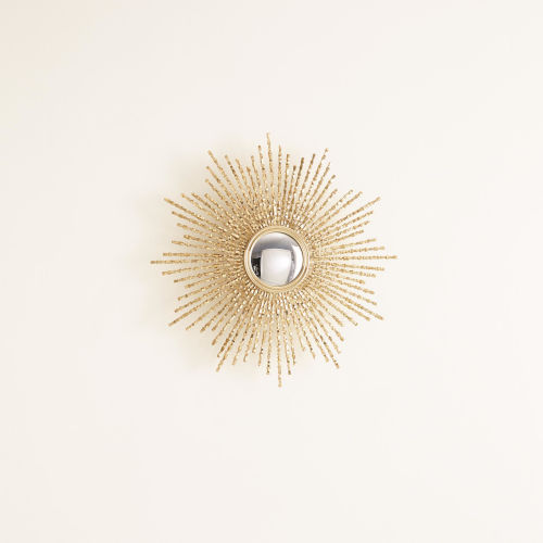 Brass 24-Inch Square Beaded Small Mirror