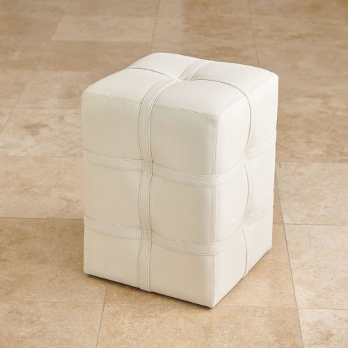 Ivory Marble Leather Belted Pouf