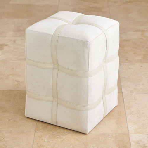 Ivory 14-Inch Belted Pouf