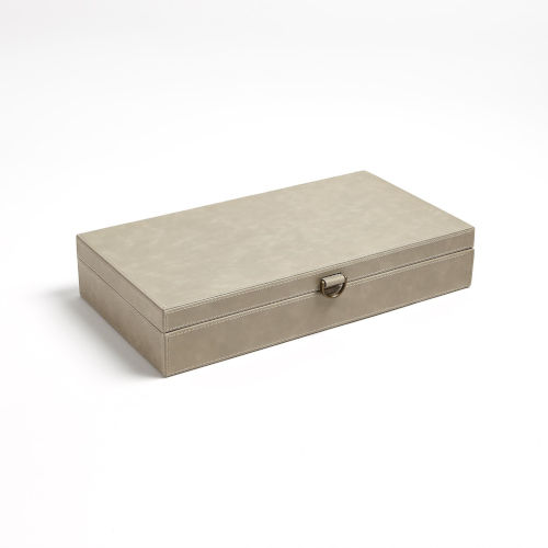 Studio A Home Light Gray Large Marbled Leather D Ring Box