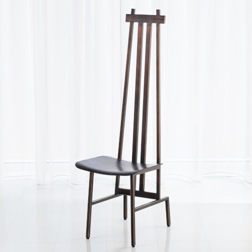 Studio A Home Bronze and Dark Brown High Back Chair