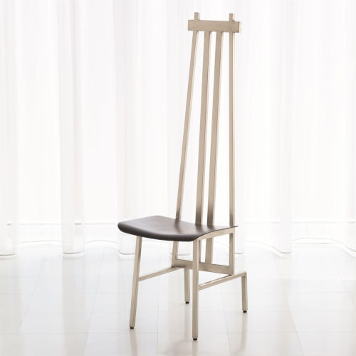Studio A Home Nickel and Dark Grey High Back Chair