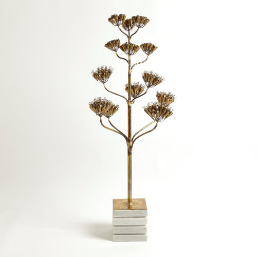 Studio A Home Brass Large Blooming Century Plant Sculpture