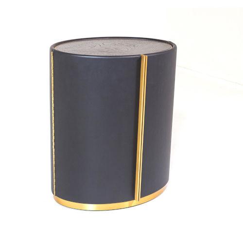 Ellipse Brushed Brass Barrel Table