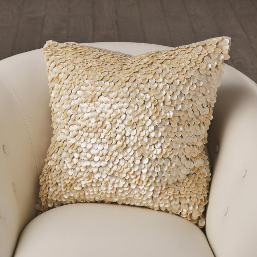 Studio A Home Ivory Mother of Pearl Beaded Pillow