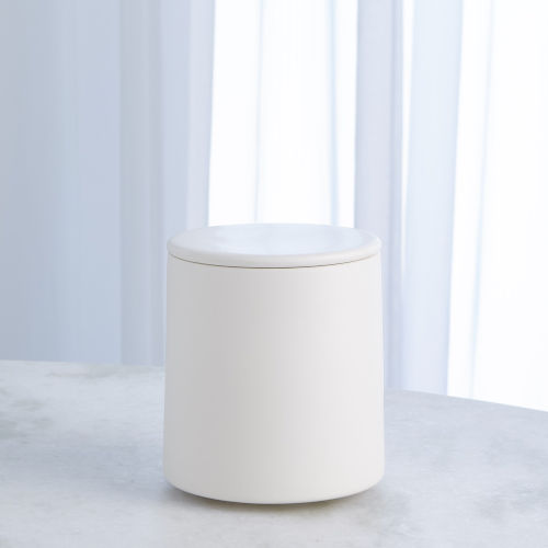 Studio A Home Chalk White Small Encircle Canister with Cork Lid