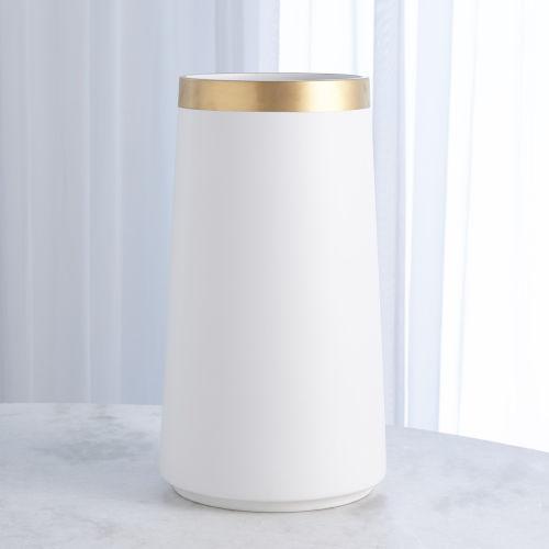 Studio A Home White Large Modern Gold Banded Vase
