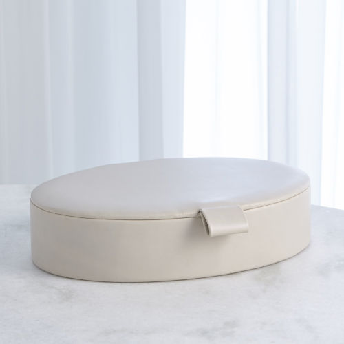 Studio A Home White Large Signature Oval Leather Box