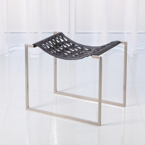 Studio A Home Nickel and Dark Gray Knit and Pearl Stool