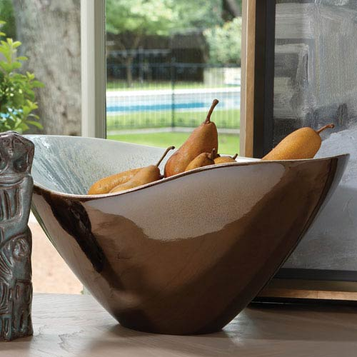 Global Views Martas Bronze Reactive Blue Bowl