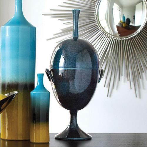 Global Views Celestial Blue Ovoid Jar with Handle