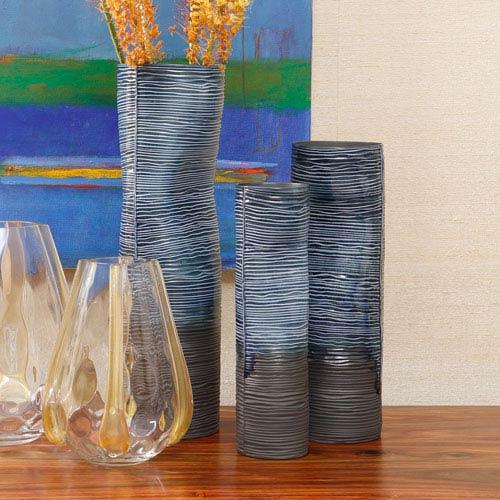 Ink Blue Large Carved Dented Vase Only