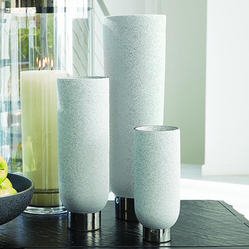 Silver Banded Grey Large Vase