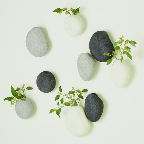 Pebble Ivory Wall Vases, Set of 3