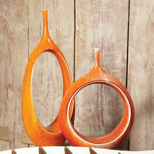 Open Ring Orange Vase