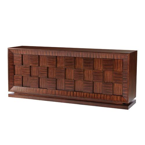 Global Views Quad Walnut Stain with Satin Lacquer Block Chest