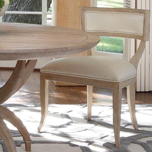 Klismos Beige Leather Chair