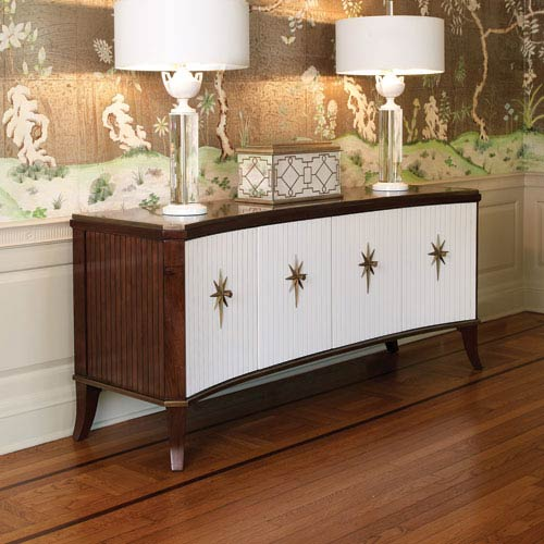 Klismos Walnut and Ivory Media Cabinet