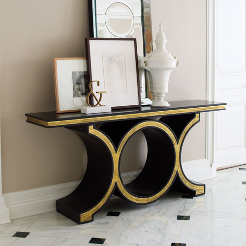 Global Views Link Black and Gold Leaf Console